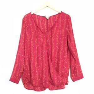 Lucky Brand Wrap Front Long Sleeve Blouse Boho EUC